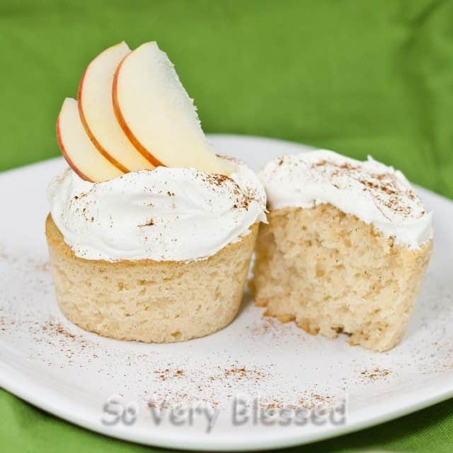 Apple Cider Cupcakes on a plate topped with Cool Whip, a sprinkle of cinnamon, and 3 thin apple slices as garnish.