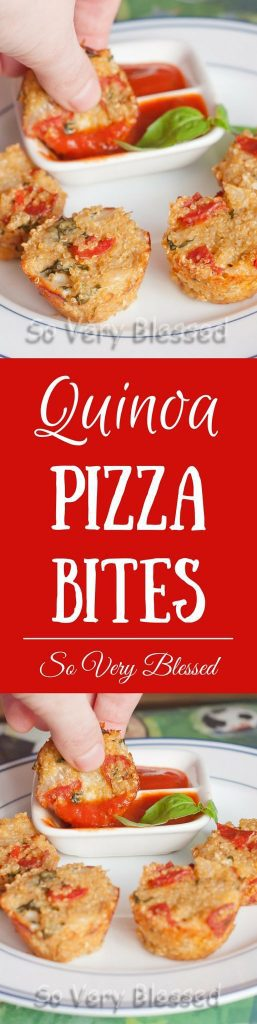 Quinoa Pizza Bites Recipe from So Very Blessed - These pizza flavored, protein-packed quinoa bites make for the perfect kid-approved game time snack!
