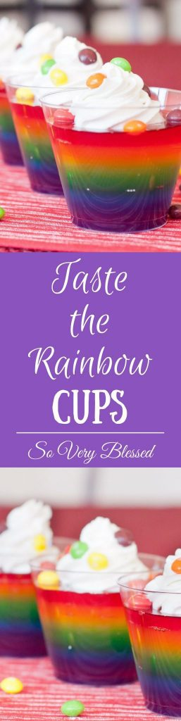 These colorful Jello cups are a fun and delicious way to taste the rainbow!