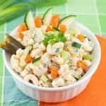 Lighter Macaroni Salad Recipe : So Very Blessed. Creamy macaroni salad made lighter by using Greek yogurt and sour cream instead of mayo. Great for summer picnics!