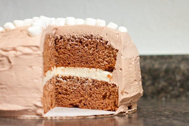 Hot Chocolate Cake Recipe : So Very Blessed - This simple hot chocolate cake is made with hot chocolate mix and topped with fluffy frosting - the perfect sweet treat for winter!