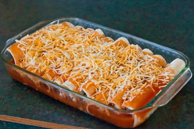 Easy Turkey & Black Bean Enchiladas : So Very Blessed - These Easy Turkey & Black Bean Enchiladas are so simple. Only 7 ingredients to throw together this healthy dinner for a potluck or a busy weeknight! Bring on the Mexican food!