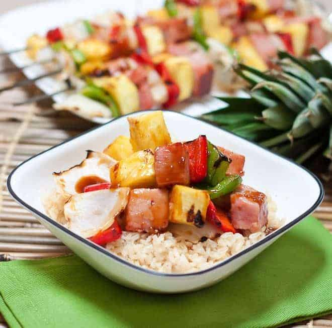 Grilled Teriyaki Ham & Pineapple Skewers Recipe : So Very Blessed