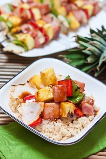 Grilled Teriyaki Ham & Pineapple Skewers Recipe : So Very Blessed