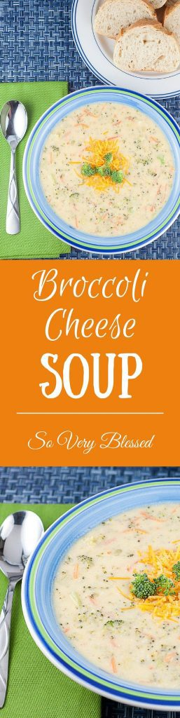 Broccoli Cheese Soup Recipe : So Very Blessed - This Broccoli Cheese Soup is packed with veggies and uses Greek yogurt instead of heavy cream to make it a healthier and protein-packed comfort food for those chilly weeknight dinners.