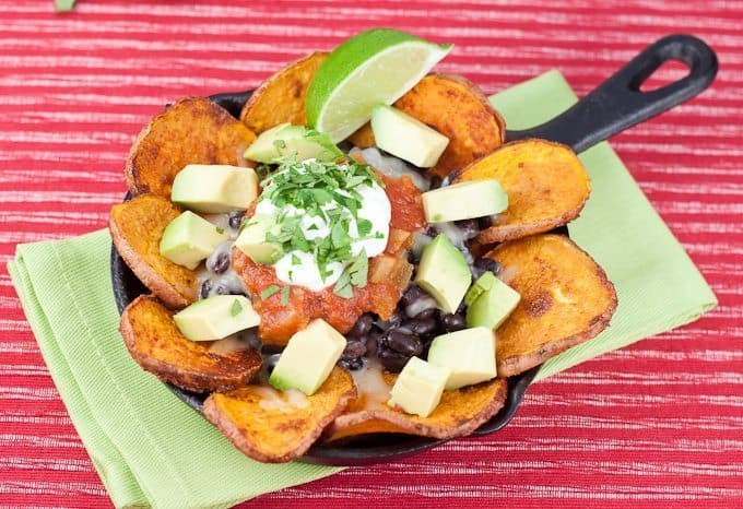 Sweet Potato Nachos Recipe : So Very Blessed - Roasted sweet potato rounds, black beans, avocado, Greek yogurt, and melted cheese make these wonderfully delicious nachos a healthy dinner choice!
