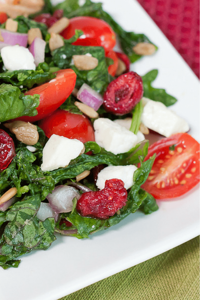 Cranberry Kale Salad Recipe : So Very Blessed - This healthy salad is chock full of dried cranberries, feta cheese, and fresh tomatoes tossed in a light dressing. The perfect side dish for roasted salmon!