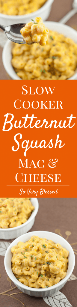 Butternut Squash Mac & Cheese : So Very Blessed - This creamy one pot mac & cheese is made in the slow cooker. It is the ultimate comfort food made healthier with whole wheat pasta and an added vegetable boost from roasted butternut squash.