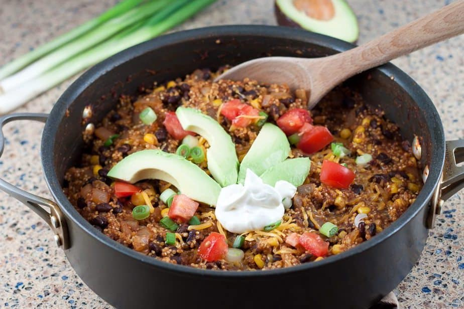 This healthy and delicious Enchilada Quinoa Skillet is made all in one pot, saving you time, energy, and unnecessary dishes!