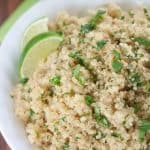 This Cilantro Lime Quinoa is a healthy, light, and fresh side dish, perfect for burrito bowls, taco salads, fajitas, and burritos.