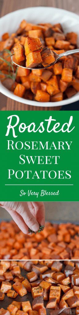 These simple Roasted Rosemary Sweet Potatoes are an easy, healthy, and flavorful side that goes great with any main dish.