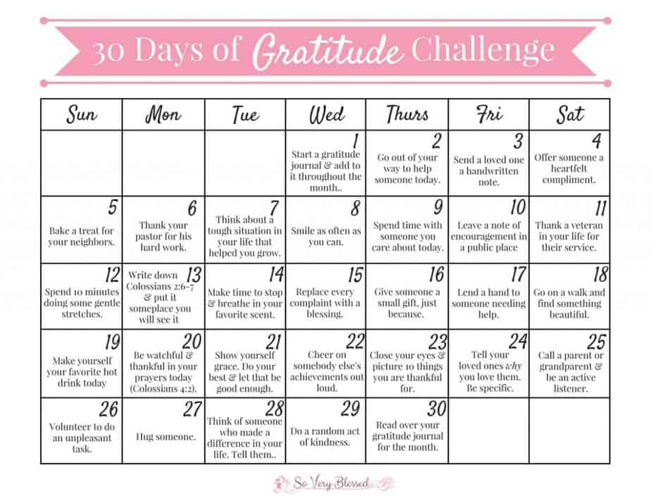 This November, take the 30 Days of Gratitude Challenge! Just a few intentional minutes every day will make you more thankful, joyful, & healthy (inside and out)!