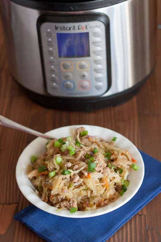 This Healthy Instant Pot Egg Roll Bowl Recipe is a great meal prep recipe, healthy weeknight dinner, and one pot meal that is fast, easy, and delicious.