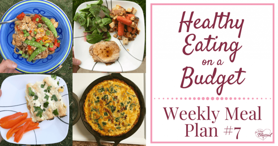 Eating healthy on a budget doesn't have to be tasteless or boring. This weekly meal plan includes spinach & white bean enchiladas, spinach bacon cheese quiche with sweet potato crust, roasted rosemary pork loin, Instant Pot honey sesame chicken, and more!