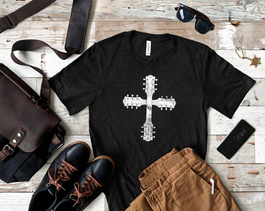 image 0  image 1  image 2  image 3  image 4  image 5  image 6 Guitar Cross Short-Sleeve T-Shirt for Christian Guitarists and Worship Leaders