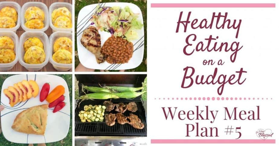 Eating healthy on a budget doesn't have to be tasteless or boring. This weekly meal plan includes ham & cheese egg muffins, ricotta spinach calzones, grilled pork chops, chicken legs, grilled turkey sausage & red potatoes, and more!