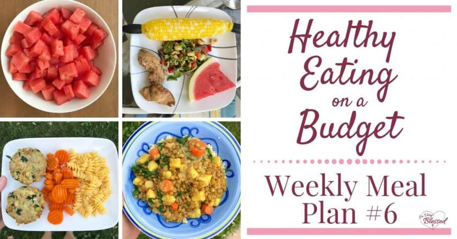 Eating healthy on a budget doesn't have to be tasteless or boring. This weekly meal plan includes blueberry zucchini muffins, sweet potato curry, grilled pork ribs, homemade Greek yogurt coleslaw, turkey spinach meatloaves, and more.
