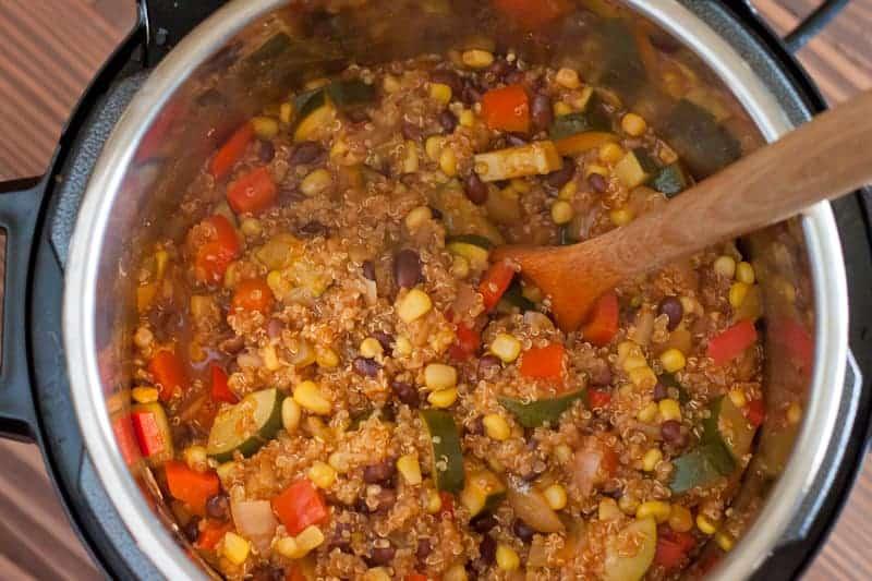 A cooked pot of Instant Pot Enchilada Quinoa