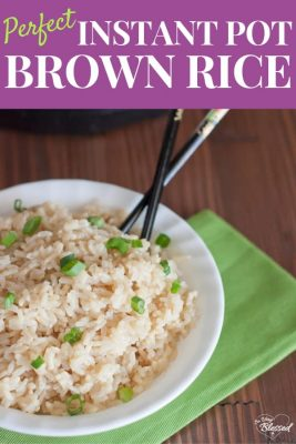 Image of bowl of brown rice cooked in Instant Pot with the text Perfect Instant Pot Brown Rice
