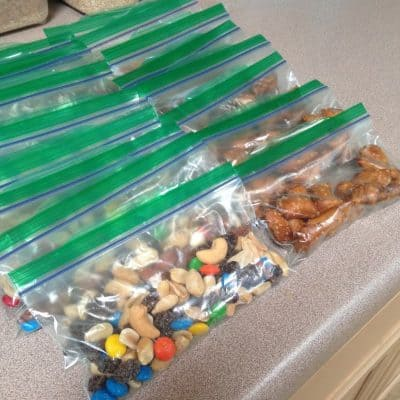 Snack size baggies full of trail mix and peanut butter filled pretzels