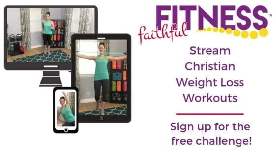 Kristen showing at-home workouts on a computer screen, tablet, and phone for Faithful Fitness.