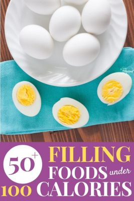 50 Filling Foods Under 100 Calories with plate of hard boiled eggs