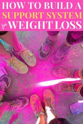 5 sets of running shoes coasted in bright pink color from a color run 5k-  How To Build A Support System For Your Weight Loss Journey