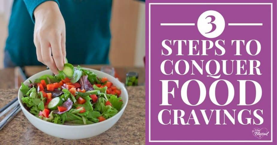 Hand sprinkling cucumber slices on a bowl of salad - 3 Steps to Conquer Food Cravings