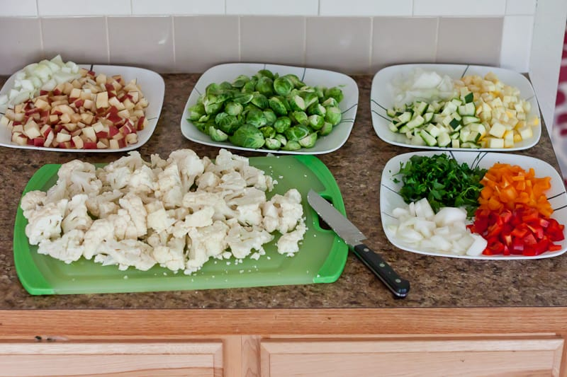 Veggies chopped and laid out on the counter ready for cooking