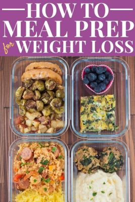Glass containers filled with healthy meals - How to Meal Prep For Weight Loss