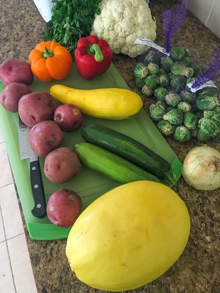 vegetables laid out on cutting board