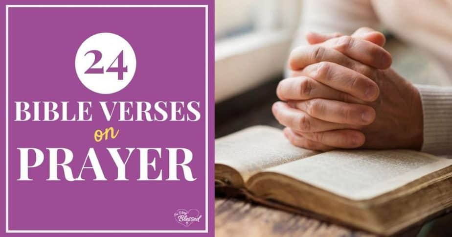 Folded hands on a Bible - 24 Bible Verses on Prayer
