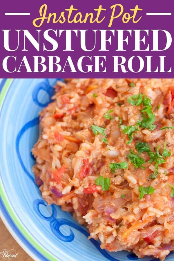 blue bowl full of Instant Pot Unstuffed Turkey Cabbage Roll Bowl Recipe topped with parsley