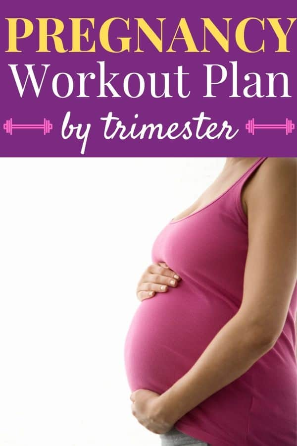 Pregnancy Workout Plan - woman wearing a pink tank top gently holding her pregnant belly