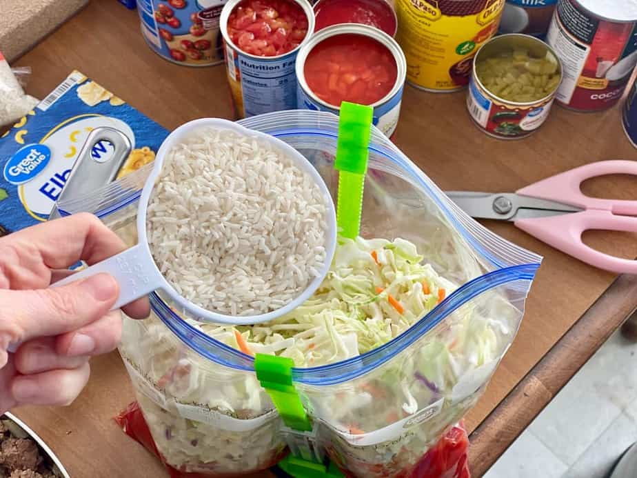 pouring rice in freezer bag using bag holder