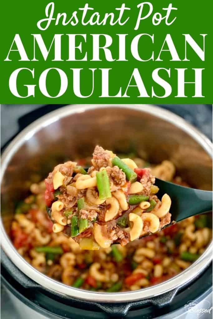 Instant Pot American Goulash with Green Beans - serving spoon lifting beef, noodles, and vegetables out of pot