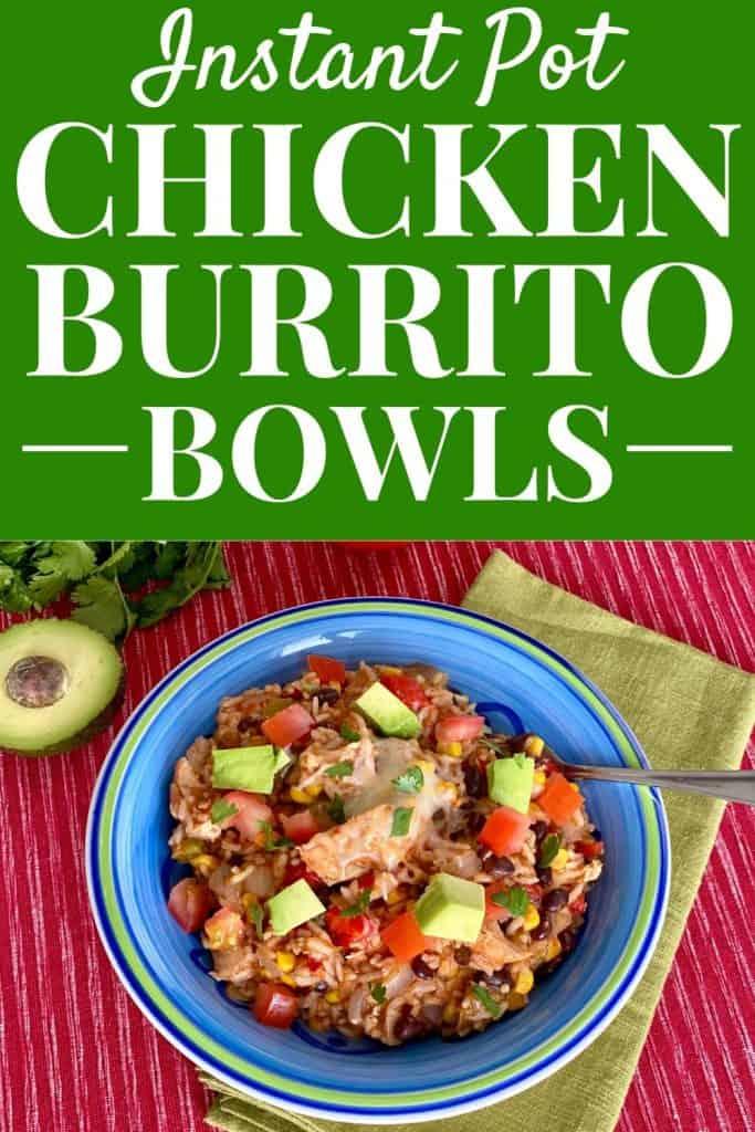 Instant Pot Chicken Burrito Bowls - blue bowl filled with chicken burrito bowl topped with avocado, tomatoes, & cilantro