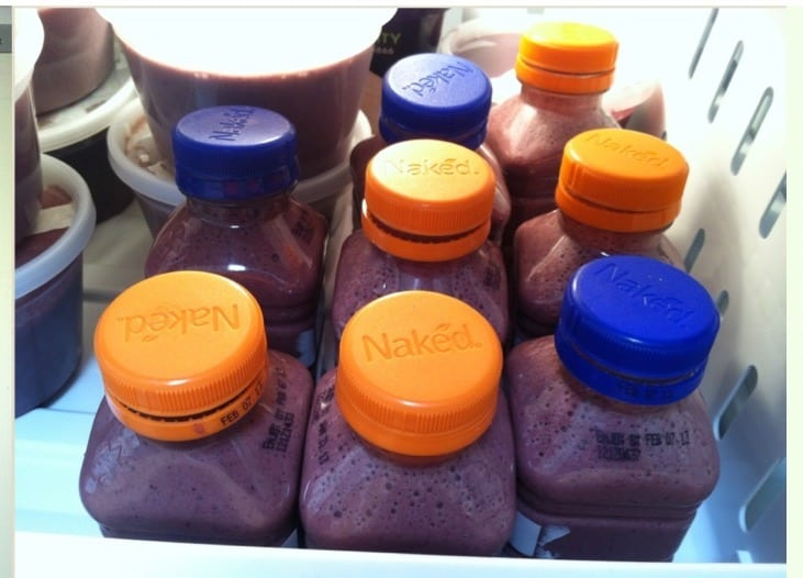 Small bottles of frozen smoothies